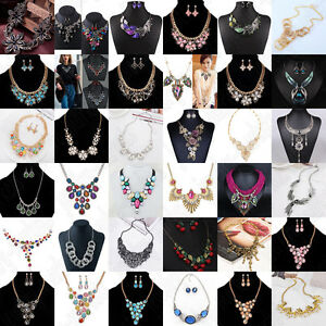Fashion-Women-Bib-Flower-Crystal-Pendant-Statement-Chain-Chunky-Choker-Necklace