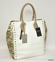 Claudia Italy Pebbled Leather Tote Shopper Bag Handbag White/metallic Trim