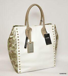 Nwt CLAUDIA Italy Pebbled Leather Tote Shopper Bag Handbag ~White ... 4170071eda381