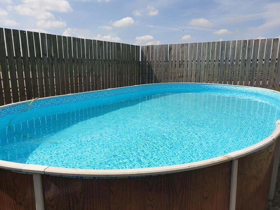 Aqua World Above Ground 24ft x 12ft Satinwood Oval Swimming Pool