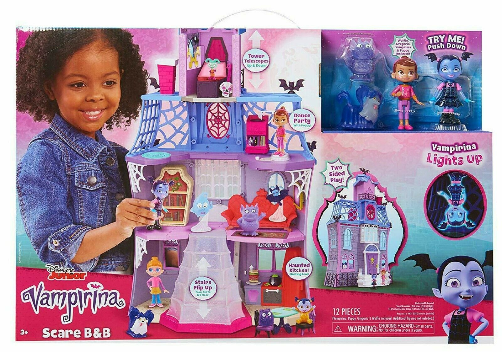Vampirina Scare 3 Floor B&B Doll House Vampirina LightsUp Poppy Gregoria Wolfie