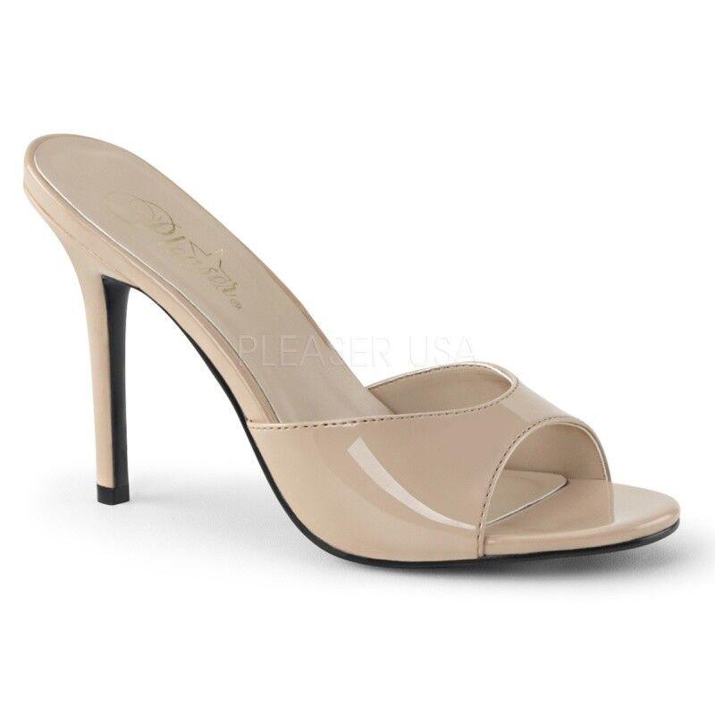 Pleaser Classique - 01 Mules Nude Verni Danse poledance soir Chaussure Sexy