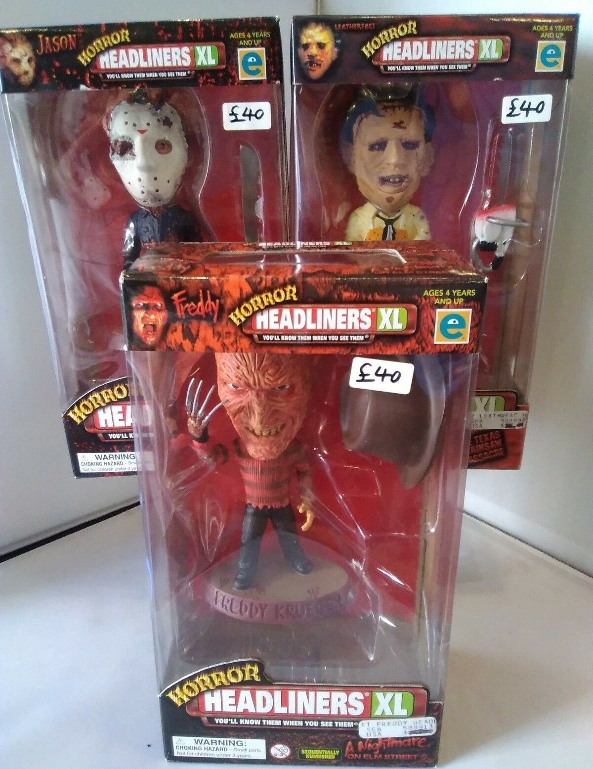 1999 HORROR HEADLINERS XL LEATHERFACE FrotDY JASON FULL SET FIGURES BOXED
