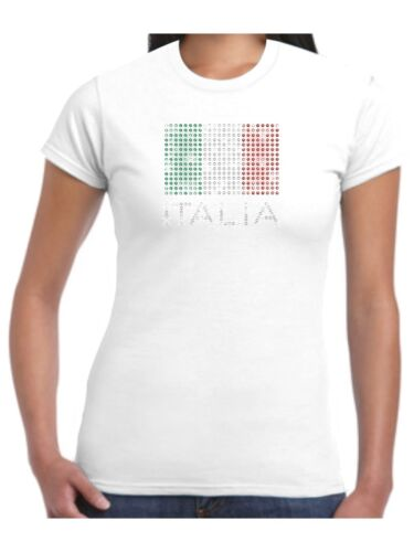 Bling Italia Ladies T Shirt Flag Emerald Crystal and Siam Sparkling Rhinestones