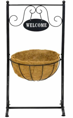Sorbus Welcome Planter Basket Stand with Coco Liner Plant, Stylish Flower