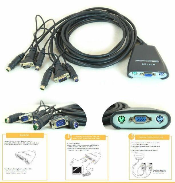 Belkin 2-PORT KVM Switch Avec Bulit-In Cabling VGA Ps/2 Kable F1DK102P #68B