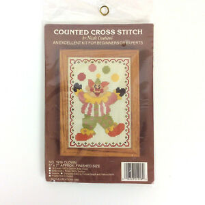 Nicole-Creations-Counted-Cross-Stitch-Kit-1918-Clown-5x7-Vtg-1986