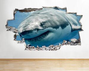 H614 gran tiburón blanco azul océano windiow la etiqueta de la pared 3D Art Stickers Vinyl Habitación
