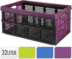 32l Plastic Folding Storage Container Basket Crate Box