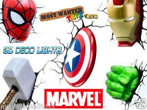 Marvel avengers 3d wall lights iron man thor captain america hulk image is loading marvel avengers 3d wall lights iron man thor aloadofball Gallery
