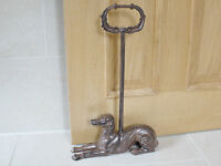 Door Stop with Handle Metal Shabby Chic Finish Whipet Dog Ornament Doorstop New