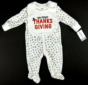 Carters-Babys-First-Thanksgiving-Footed-1-Pc-w-Bib-Boy-Girl-Size-3-Month-6-Month