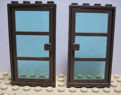 LEGO Set of 2 NEW Dk Bluish Gray Frame /& Door 1x4x6 3 Pane Trans Lt Blue Glass