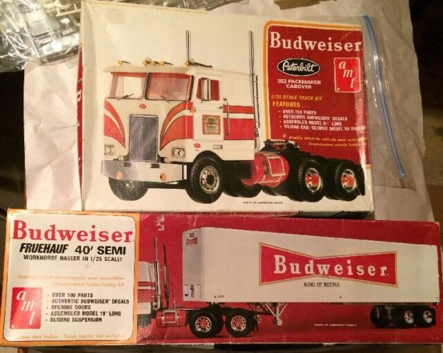 AMT 1/25 Budweiser Semi Peterbilt COE & Trailer Model Kit Set Lot