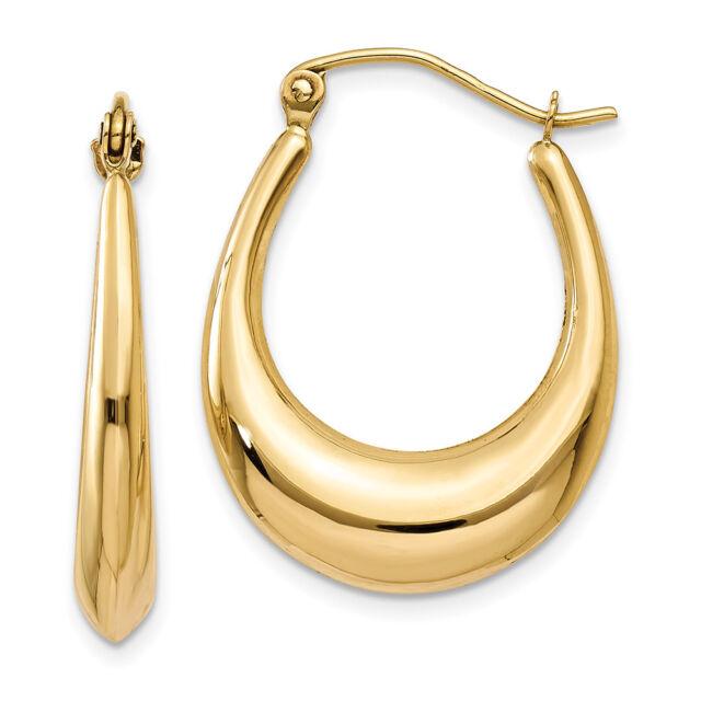 14k Yellow Gold Oval Hoop Earrings Ebay