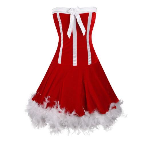 Red Steampunk Women Waist Cincher Shaper Xmas Party Corset Bustier Top Christmas