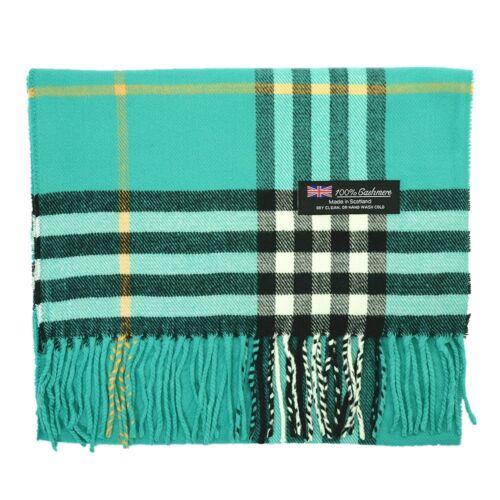 Men/'s 100/% CASHMERE Scarf Vintage Teal Big Plaid Stripe Design Soft Winter Warm