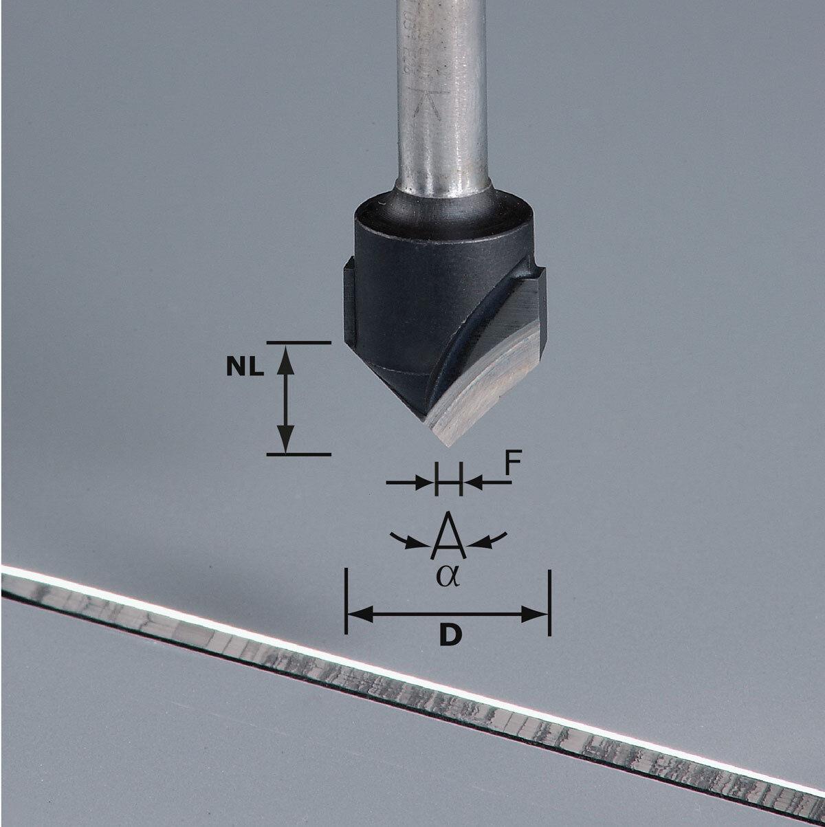 FESTOOL V-Nutfräser mm HW Schaft 8 mm V-Nutfräser HW S8 D18-90° (Alu) - 491444 123054