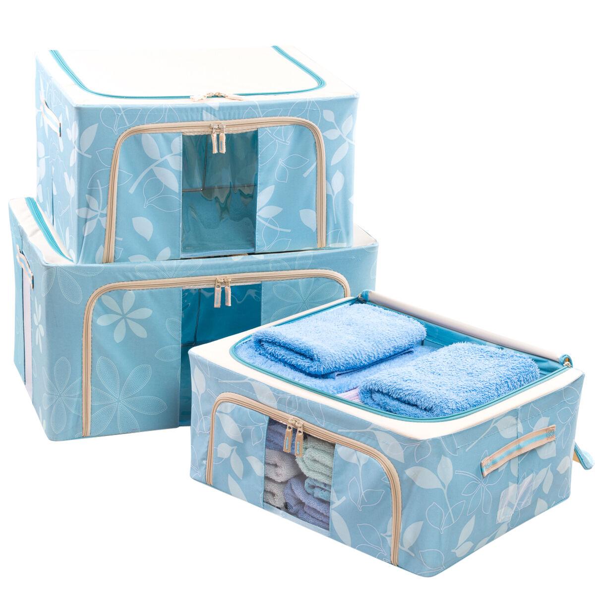 LUSSO PIEGHEVOLE CON STRUTTURA di IN METALLO TELA scatole di STRUTTURA camera da letto Organizzatore materiale. NUOVO a71877