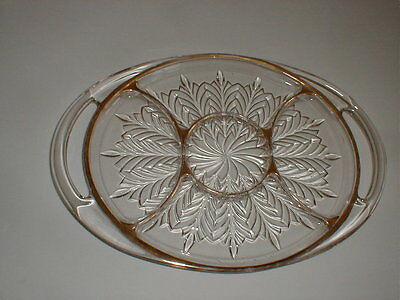 Jeannette Glass 5 Part Oval Relish Tray/Platter w Gold