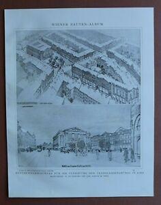 WBd) Architektur Linz 1907-1910 Entwurf Verbauung Trainkaserngründe  24x31cm