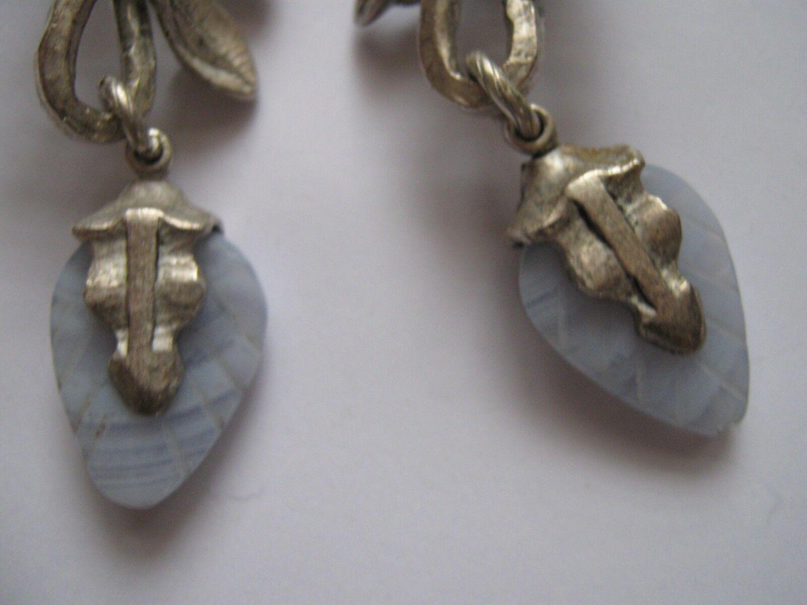 Southwestern , Earrings , Vintage ,White / Blue,Stones
