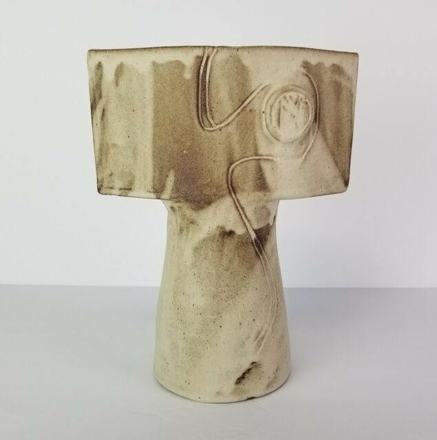 Ikebana Vase Studio Pottery Pedestal Tall Flower Floral Contemporary Russell