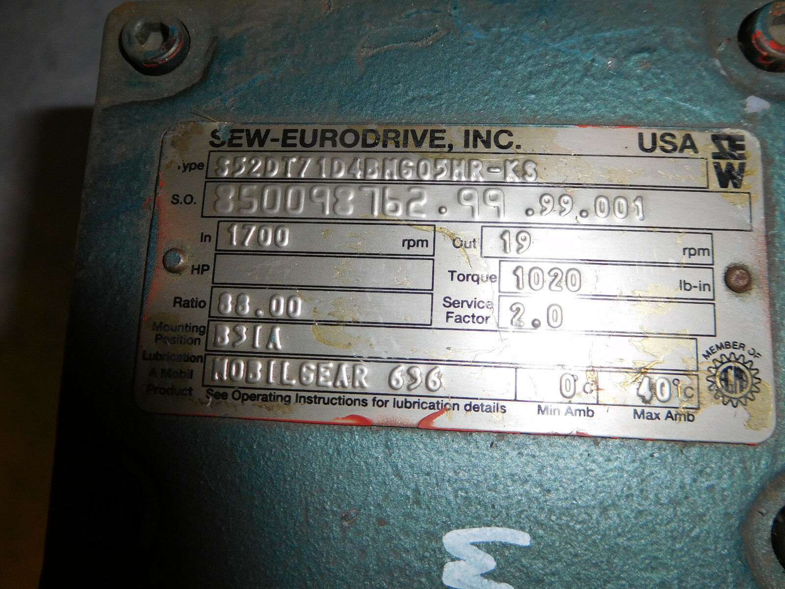 Sew Eurodrive 1/2HP S52DT71D4BMG05HRK3/DFT71D4BMG05HR-K3 Gear Motor 1/2HP Eurodrive 88:1 ratio bbe3c5