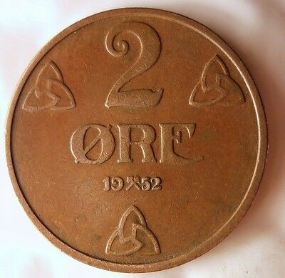 Excellent Vintage Coin FREE SHIPPING Norway Bin #4 1952 NORWAY 2 ORE
