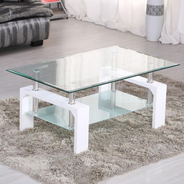 High Gloss Glass Coffee Table with White Legs, 100 cm*60 cm*45 cm Rectangular
