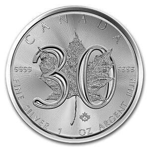 2018 Canada 1 oz Silver Maple Leaf 30th Anniversary BU - SKU#162434