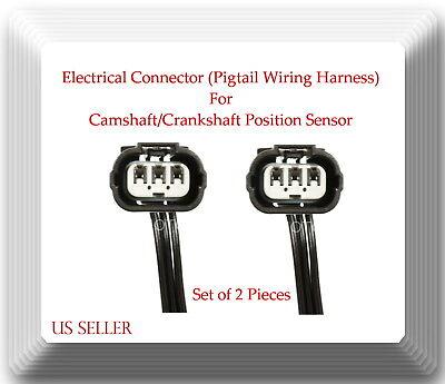 Set of 2 Camshaft CAM Crankshaft CRANK Position Sensor For Honda Civic L4 1.7L