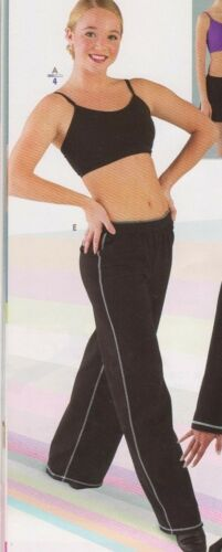 NWT DANCER  Jazz Coverup PANTS BLACK w//white stitching Cotton Spandex PLAIN