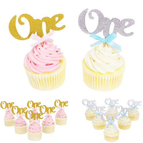 6pcs One Year Birthday Cupcake Toppers Party Baby Shower Wedding Cake Decoration
