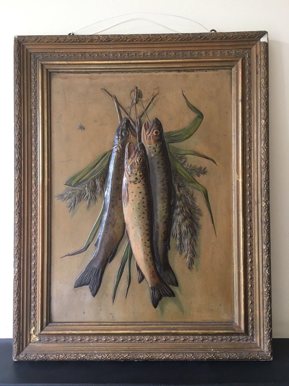 20th CENTURY sollevato Pittura in pelle di salmone trossoa pesce 3D
