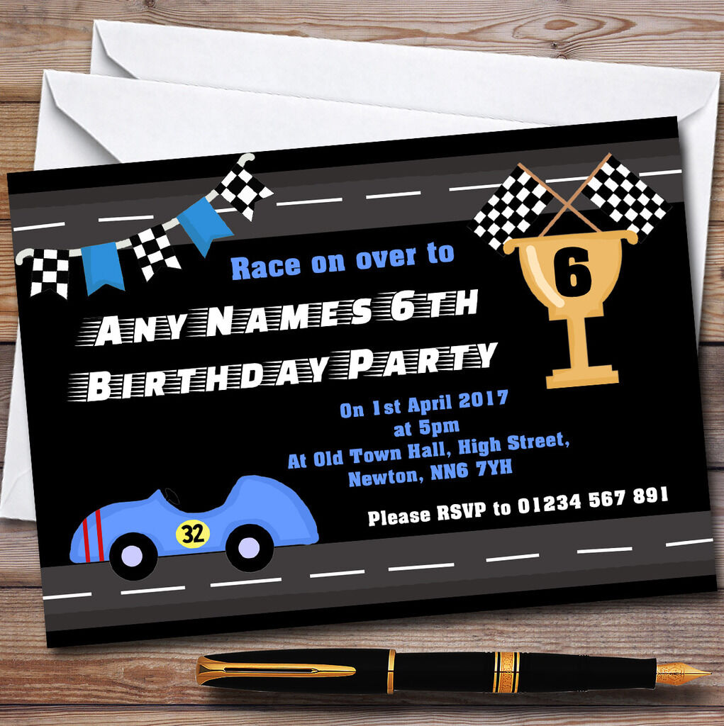 Bleu Racing voiture & drapeau Birthday Childrens Birthday drapeau Party Invitations 64dcce