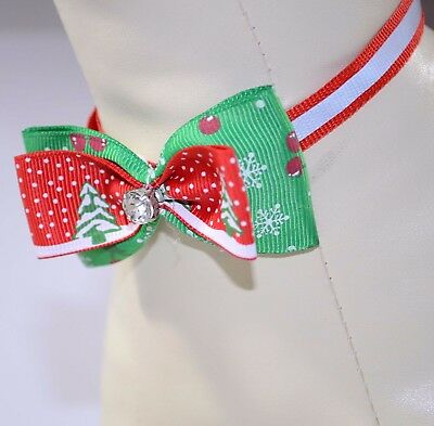 "New Dog Cat Pet Christmas Bow Tie adjustable Necktie Collar Handmade ""diamond""C"