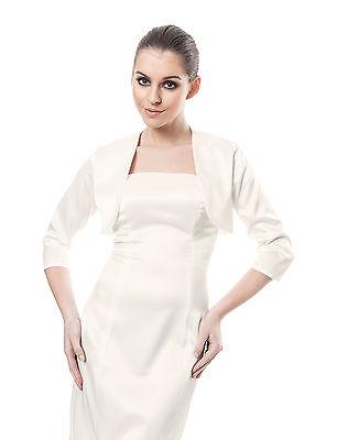 New Women's Evening Prom Party Satin Bolero Jacket Shrug 8 10 12 14 16 18 20 22 Kunden Zuerst