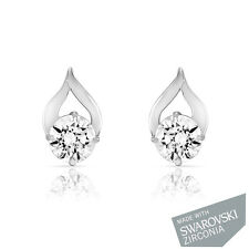 Mahi Rhodium Plated Delicate Drop  Earrings With Swarovski Zirconia ER1105022R