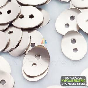 Acier Chirurgical ovale Bouton Pour Cuir Wrap Bracelets Fermoirs 14x11mm//2 mm trou
