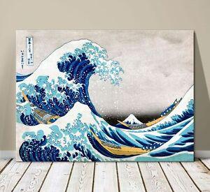 """Beautiful Japanese Sea Art ~ CANVAS PRINT 16x12"""" ~Hokusai Great Wave Kanagawa #2"""