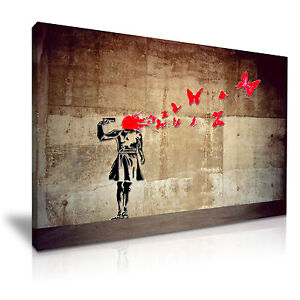 Banksy Balloon Girl Hope Modern Graffiti Wall Art Framed Canvas Print ~ 1pc
