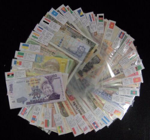 30 COUNTRIES 100 Pieces Worldwide Different MIX Banknotes UNC