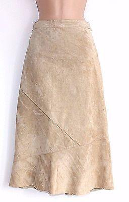 Women's Vintage Estelle Matita Al Polpaccio Beige 100% Vera Pelle Gonna Uk12-mostra Il Titolo Originale Elegante Nell'Odore
