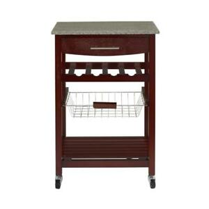 Details About Granite Top Espresso Kitchen Cart Island W Rolling Casters Wheels Wine Rack