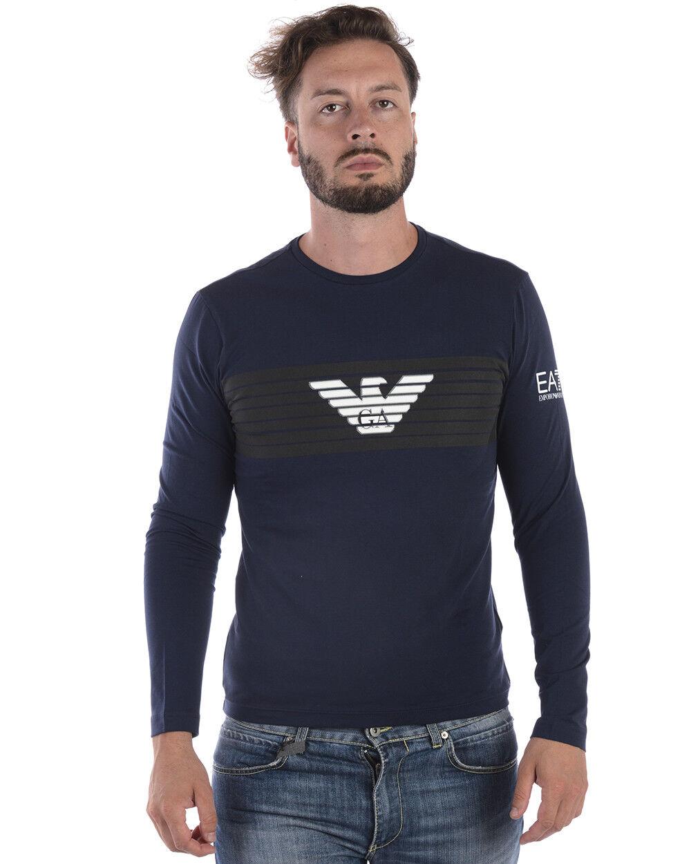 T shirt Maglietta Emporio Armani Ea7 Sweatshirt Cotone  Herren Blu 6ZPT30PJ18Z 1554