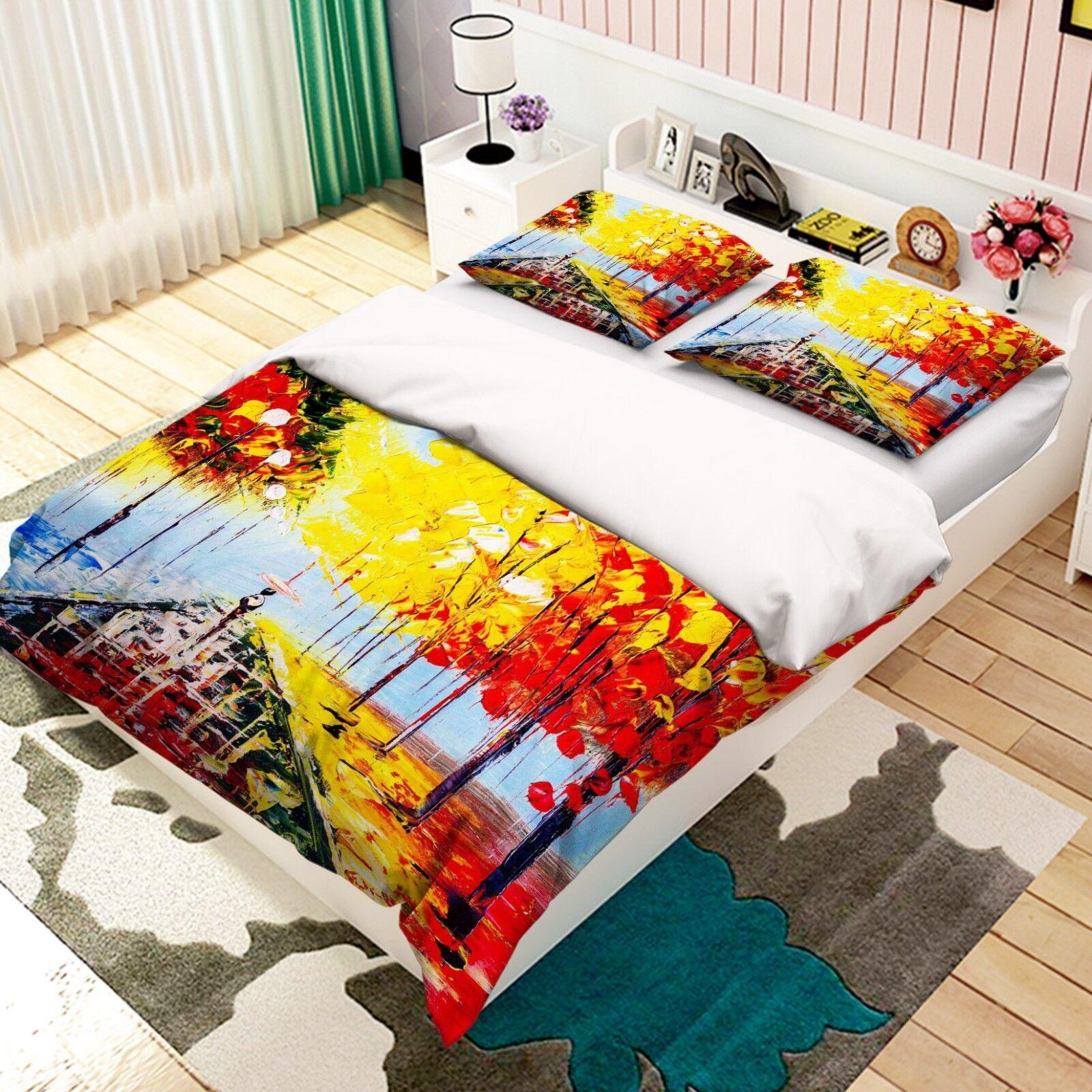 3D Regen Straße Ölgemälde 5 Bett Kissenbezüge steppen Duvet Decken Set Single DE