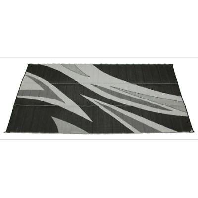 Faulkner 46341 8/' x 20/' Black//Grey Summer Wave Design Reversible Patio Mat