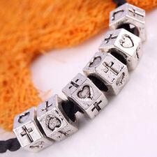 Kf246*20X Tibetan Silver Cross Heart Rondelle European Beads Fit Charms Bracelet