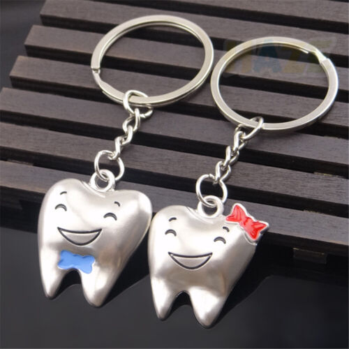 Creative Tooth Couple Keychains Pendant Car Alloy Keyring Cute Gift Funny